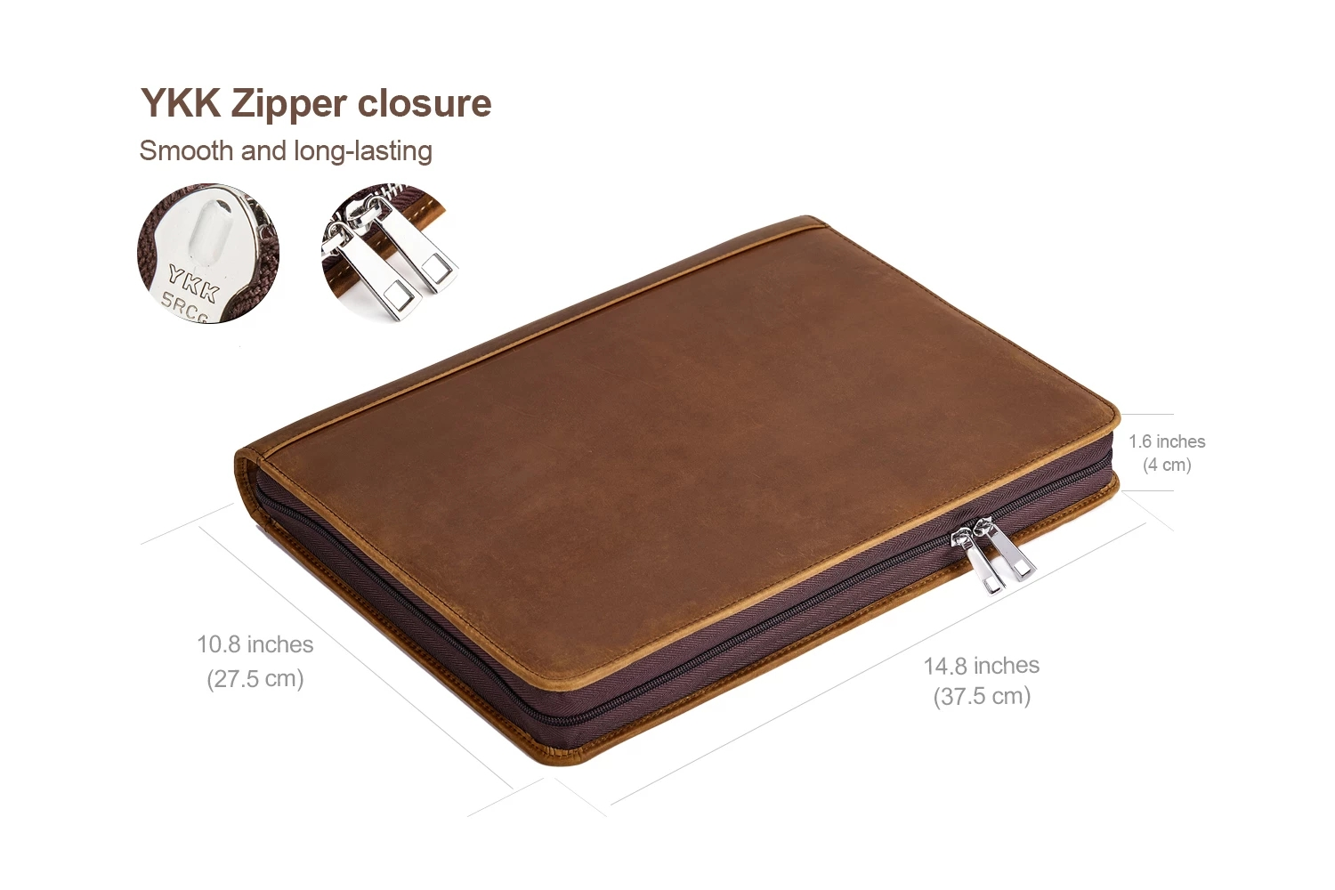 LeatherTech  Handmade Portfolio with 3 Ring Binder and Clipboard for A4 Size Notepad Crazy Horse Leather