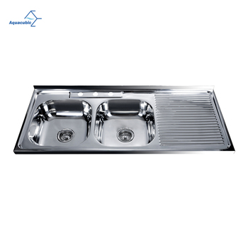 Aquacubic Stainless Steel Double Bowl Pressed Kitchen Sink With Draining Board