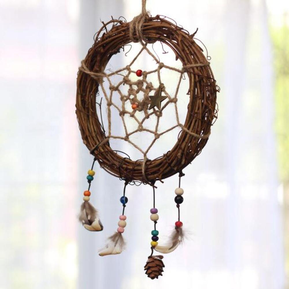 Innoative DIY 드림 캐처 인도 Dreamcatcher 용품 키트에는 등나무 화환 꽃 후프 일체형 세트