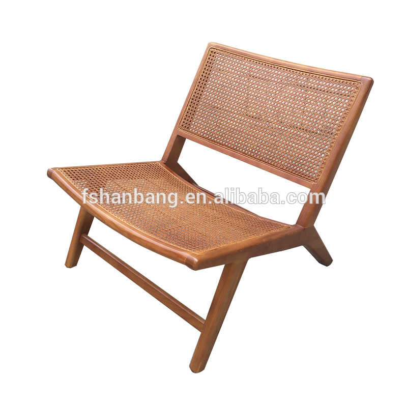 Simple Design Nordic Style Cafe Cane Rattan Wood Dining Chair