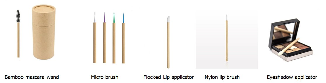 Factory wholesales New products 2020 Private label flocked Disposable lip brush with bamboo handle