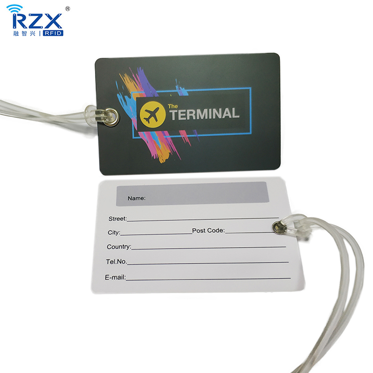 Customized Design Printed PVC Writable Travel Airplane Baggage Luggage Tag Card with Silicone Cord