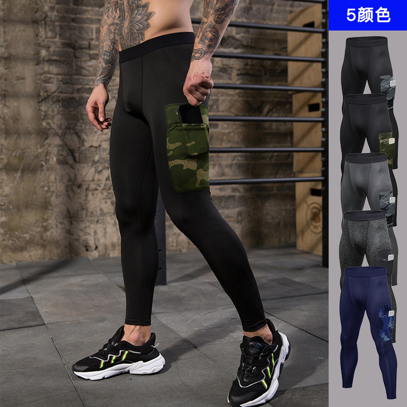 Men's Compression Pants Workout Leggings Training Running Tights Athletic Base Layer Cool Dry Pants with Pocket