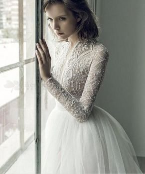 2019 Casual Beach Wedding Dresses Long Sleeve Lace Boho Wedding Dress Bridal Gown