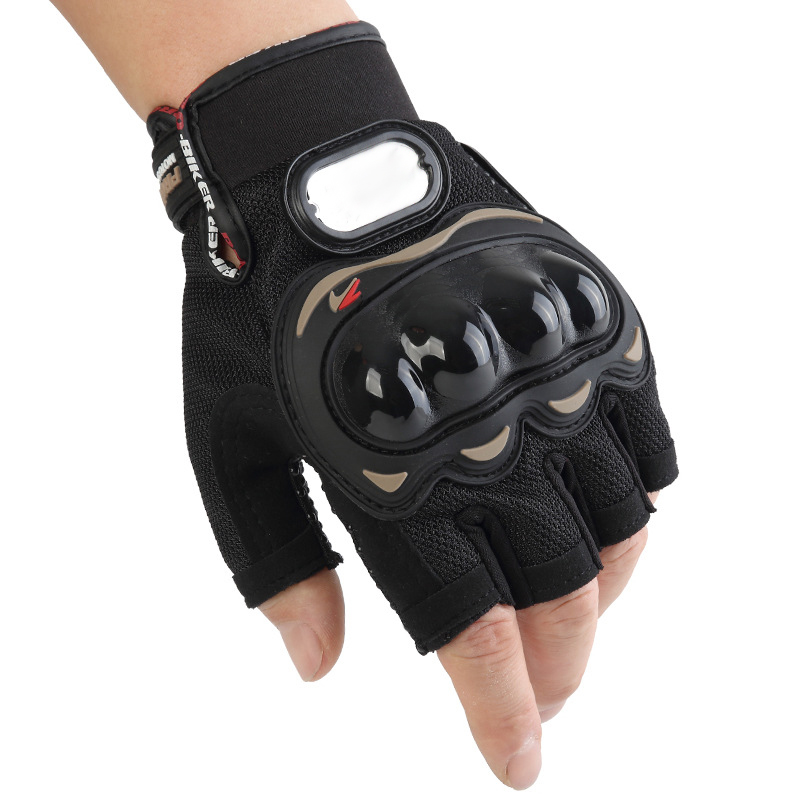 Racing <strong>Motorcycle</strong> <strong>Riding</strong> Leather Knuckle Protect Motorbike Motocross Half Finger Sports Gear Cycling Gloves