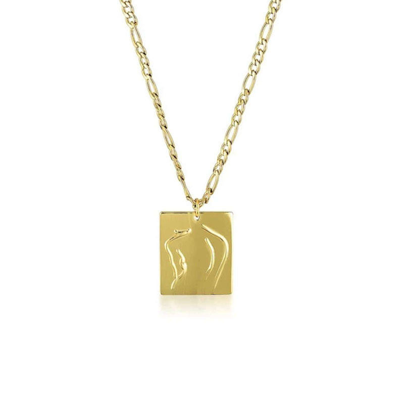 Joolim Jewelry 18K Gold Plated Figaro Chain Figure Pendant Necklace Stainless Steel Jewelry Wholesale