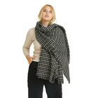 Black and white plaid simple and generous warm ladies scarf