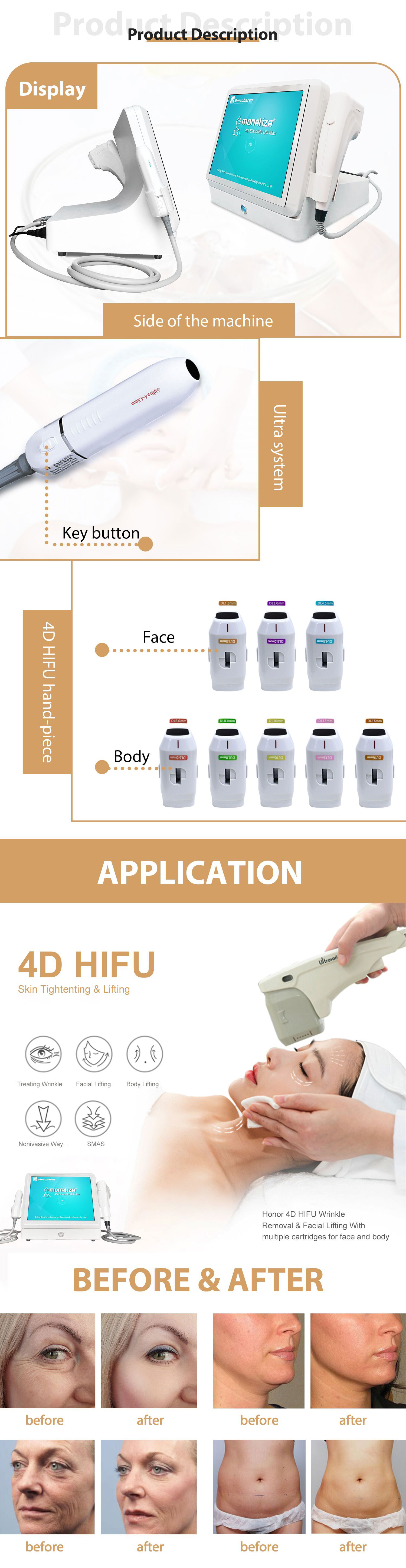 4D Hifu 60000 Shots 12 Lines 6 Cartridges Anti Wrinkle Face Lift Skin Tightening Body Slimming Hifu 3D 4D Hifu beauty machine