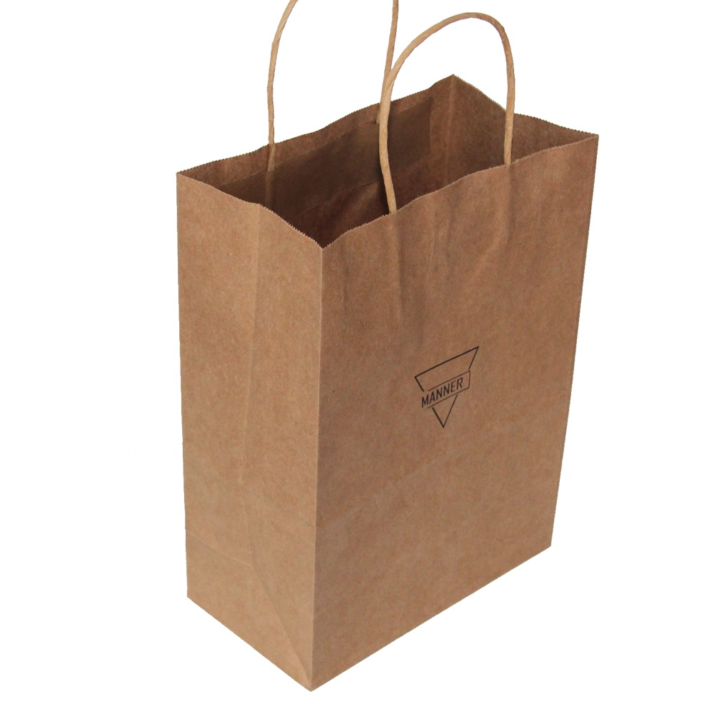 China Supplier Wholesale Craft Paper Bags With Paper Handle For Food