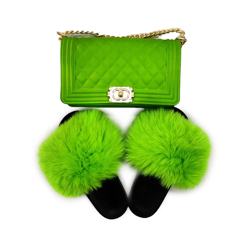 High quality  women real  big fluffy raccoon /fox  fur sandals match candy colorful jelly purses sets