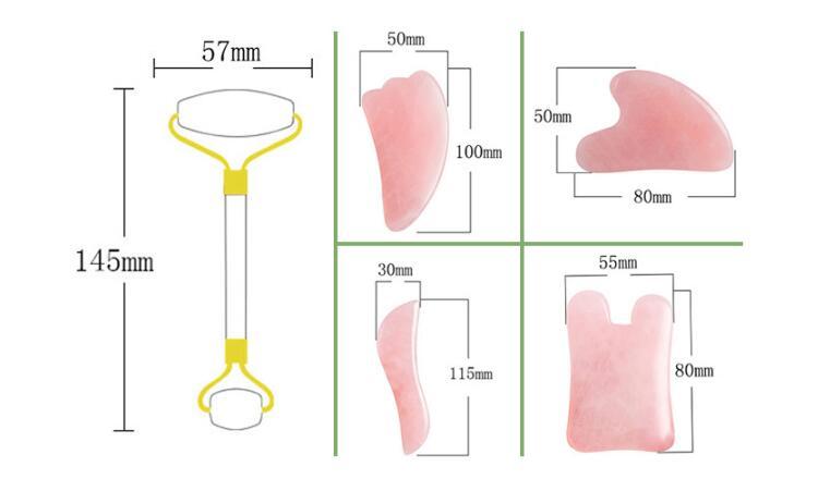 2020 high quality custom box rose quartz pink 100% rose quartz jade roller gua sha set for face