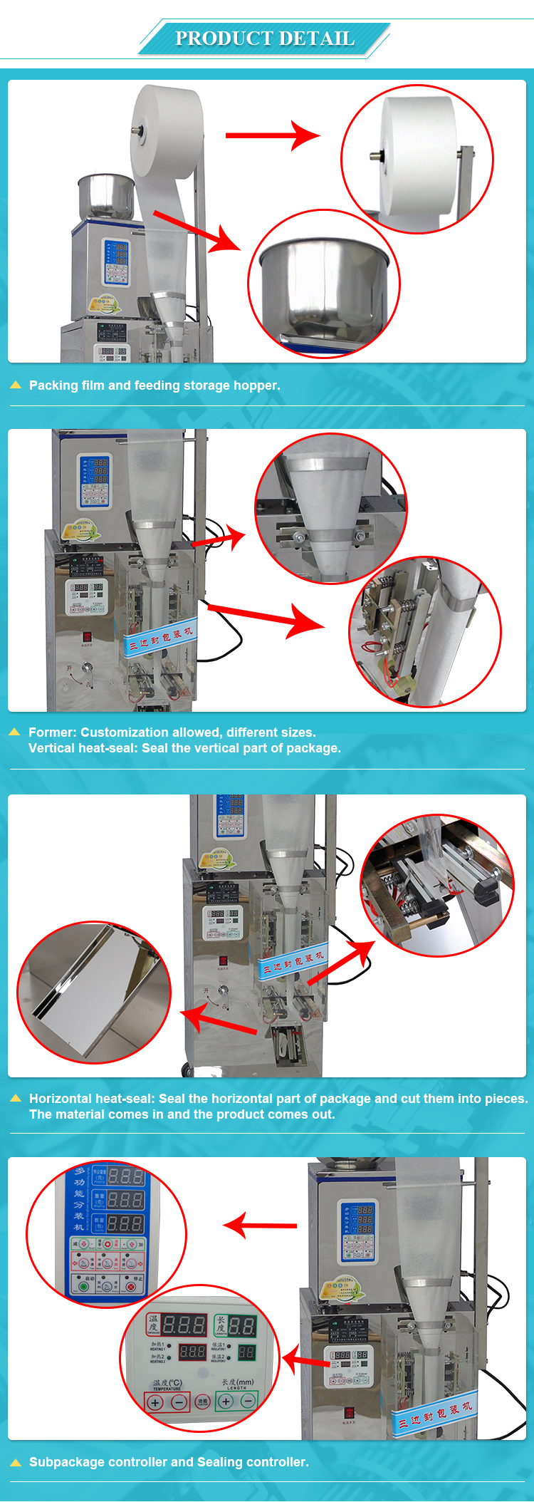 DZD-220 Fully Automatic Multi-Function Smart Three Side Sealing Small Tea Bag Packing Machine