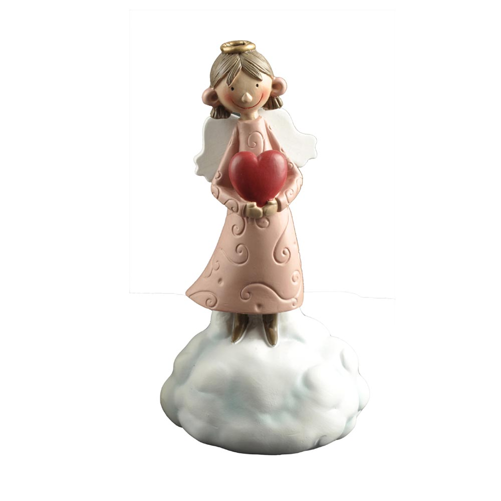 Hot Sale Unique  Resin Decorative Holding Heart Little Angel Figurine on the Cloud