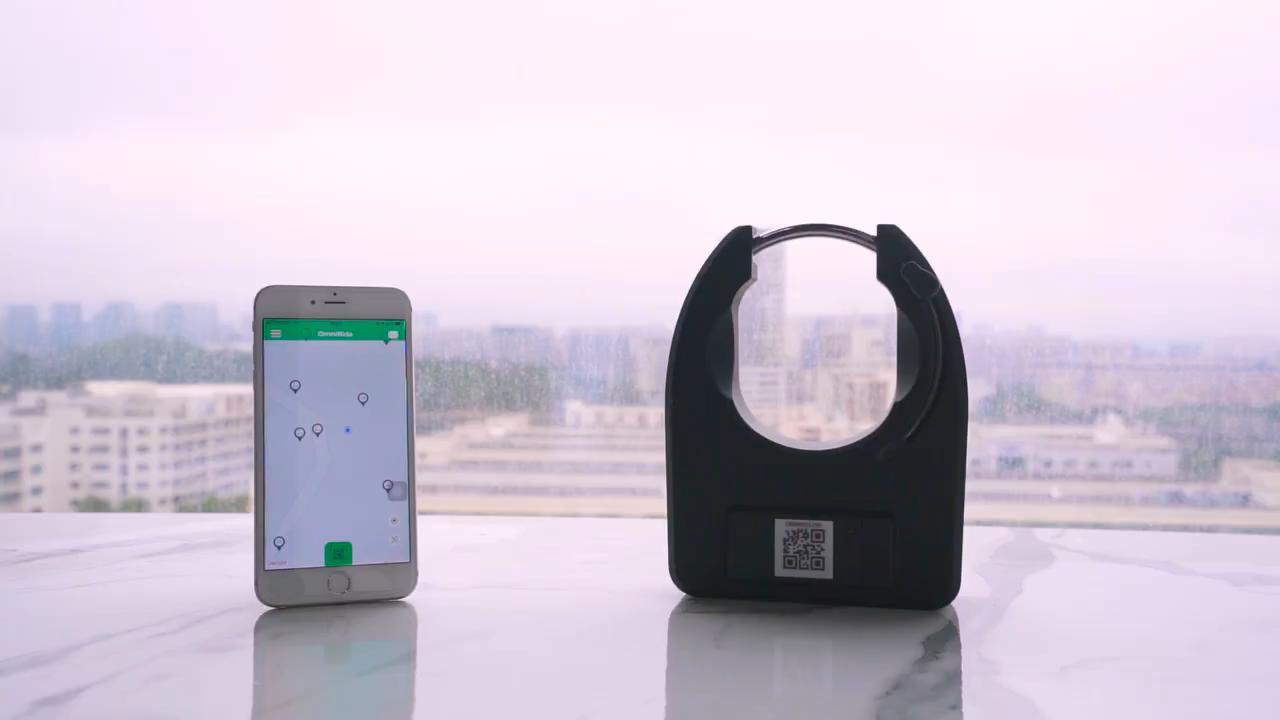 Omni Smart Remote Kunci Cerdas Kode QR Sepeda GPS Alarm Sepeda Lock dengan GPRS Aplikasi Remote Control