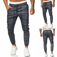 FREE Shipping Men's Sport Pants Long Summer Slim Fit Plaid Trousers Running Joggers Sweatpants Ankle-Length Pant
