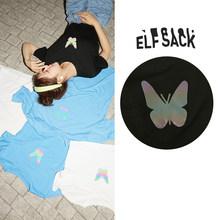 Женские повседневные футболки ELFSACK, разноцветные футболки с графическим принтом в стиле Харадзюку, базовые повседневные топы в Корейском с...(China)