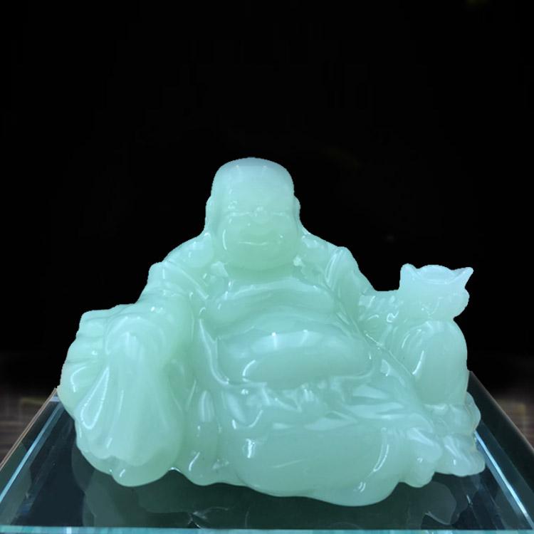 Casa e escritório de decoração Esculpida jade branco e liuli Buda Maitreya presente