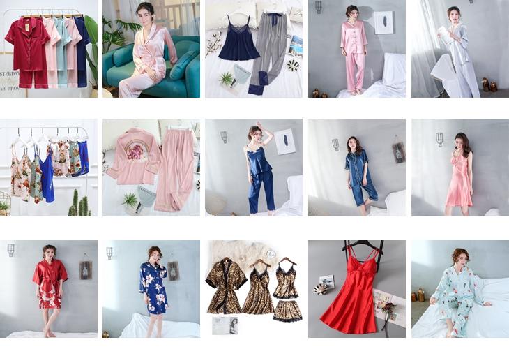 여성 nightdress 두 조각 잠옷 숙녀 실크 잠옷