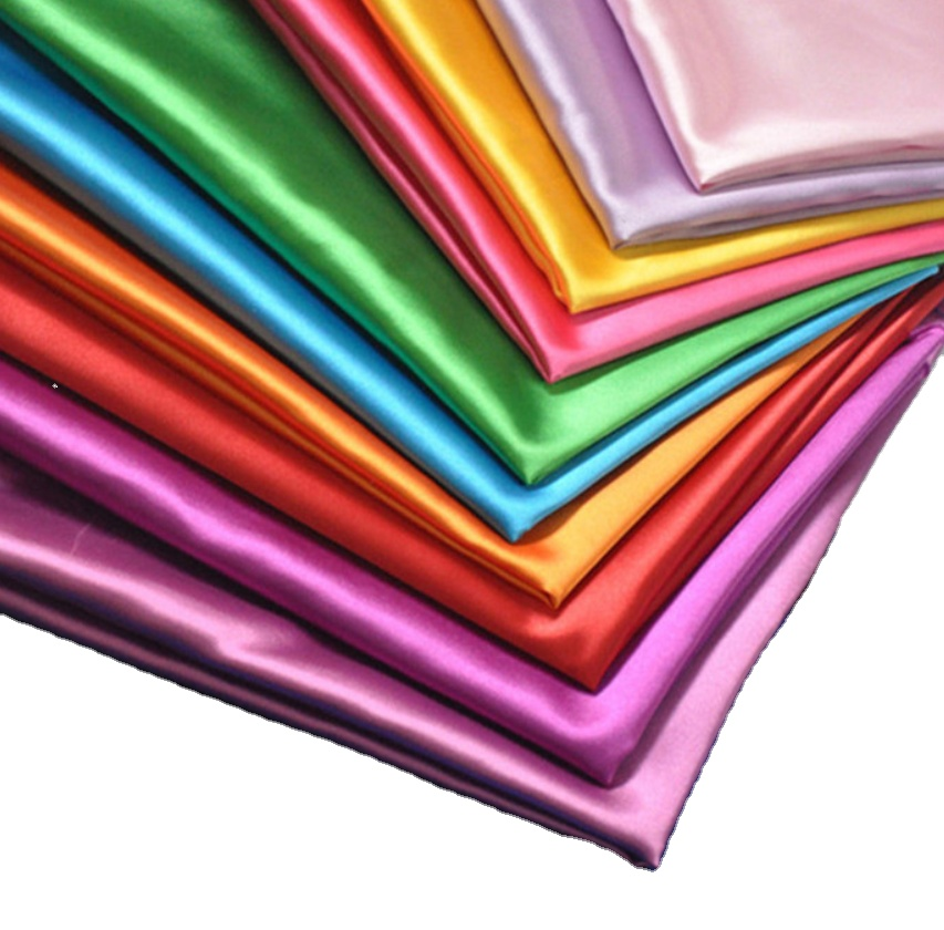 factory cheap price 100% polyester shiny satin fabric for wedding decoration