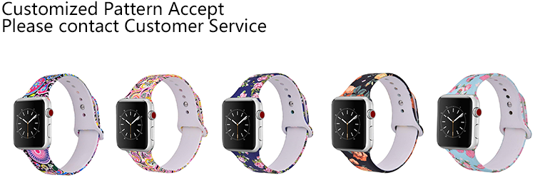 Custom Colorful Sport Soft Silicone rubber wristband single button Watch band strap for apple
