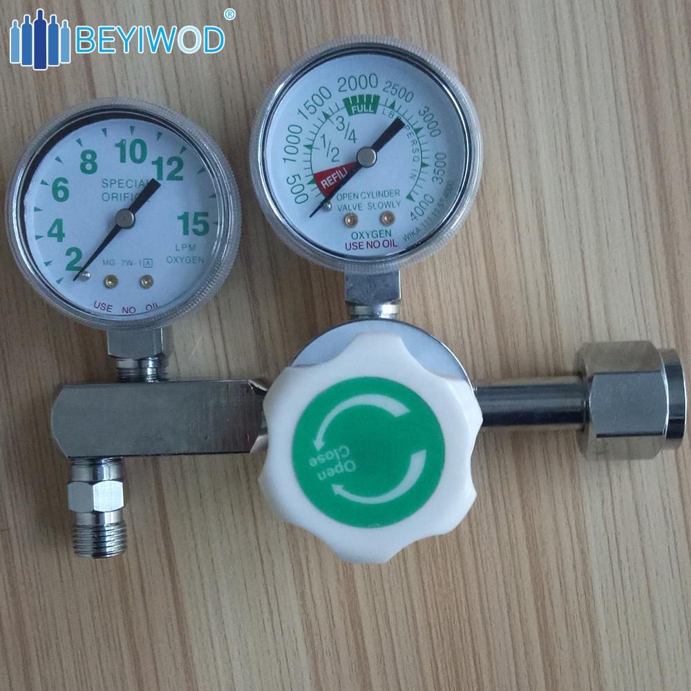 Haute pression en laiton régulateur d'oxygène médical régulateur de bouteille d'oxygène avec humidificateur et débitmètre à vendre