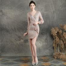 Женское платье с v-образным вырезом It's Yiiya, расшитое блестками платье для выпускного вечера с длинным рукавом, мини-платье на молнии размера ...(Китай)