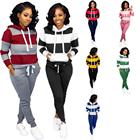 2019 Autumn Latest Design Women's Printed Striped pockets pullover hoodies With trousers Sport running sets Autumn Style Cothes