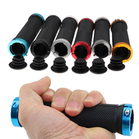 Handlebar Grips Dual Lock Tight Skid Resistance Road Bicycle Aluminum alloy Rubber Handle grip Mountain MTB Bike Cycling Parts