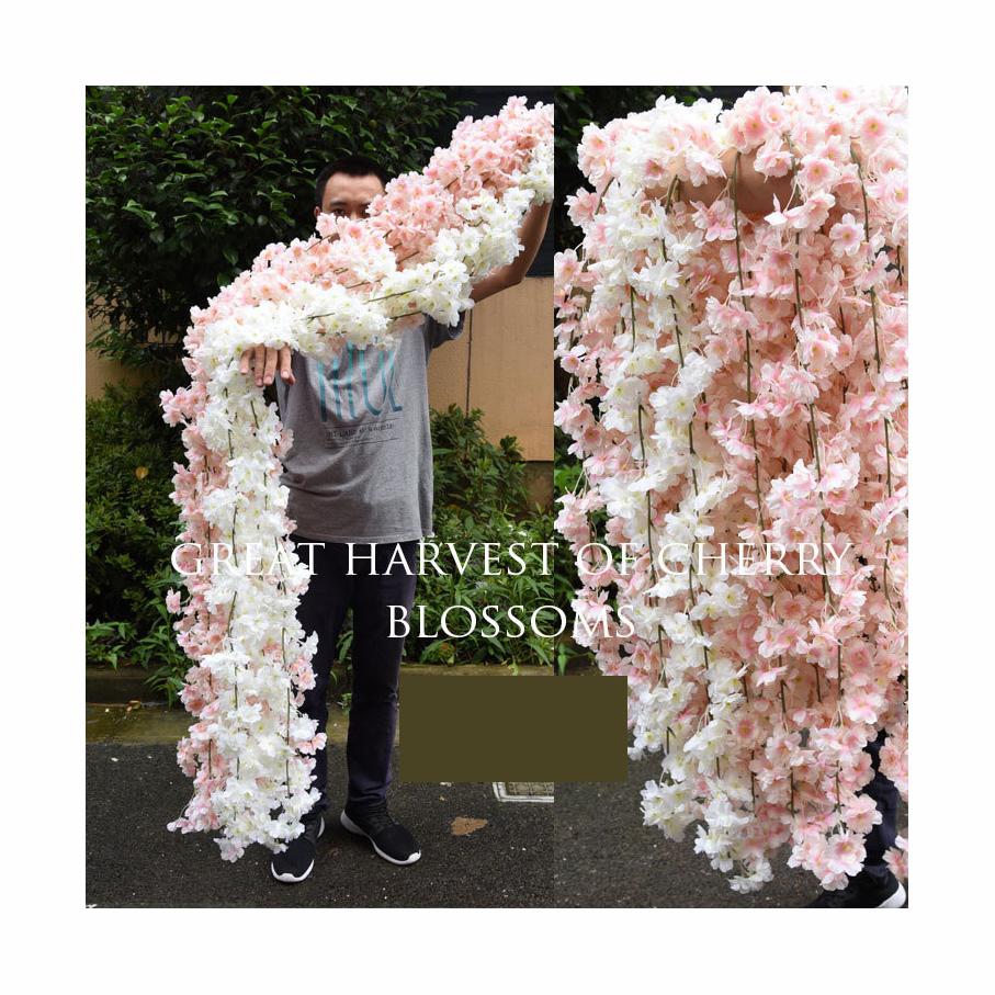 LF563 Hot sale indoor wedding holiday decorative silk cherry blossom plastic artificial flowers vine
