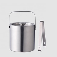 Factory Direct 1.3L small double wall insulated metal stainless steel wine beer ice bucket with lid