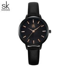 Shengke Новые поступления черный ремешок Rosegold чехол бизнес стильные женские часы грациозные весы циферблат Reloj Para Mujer Correa De Cuero(China)