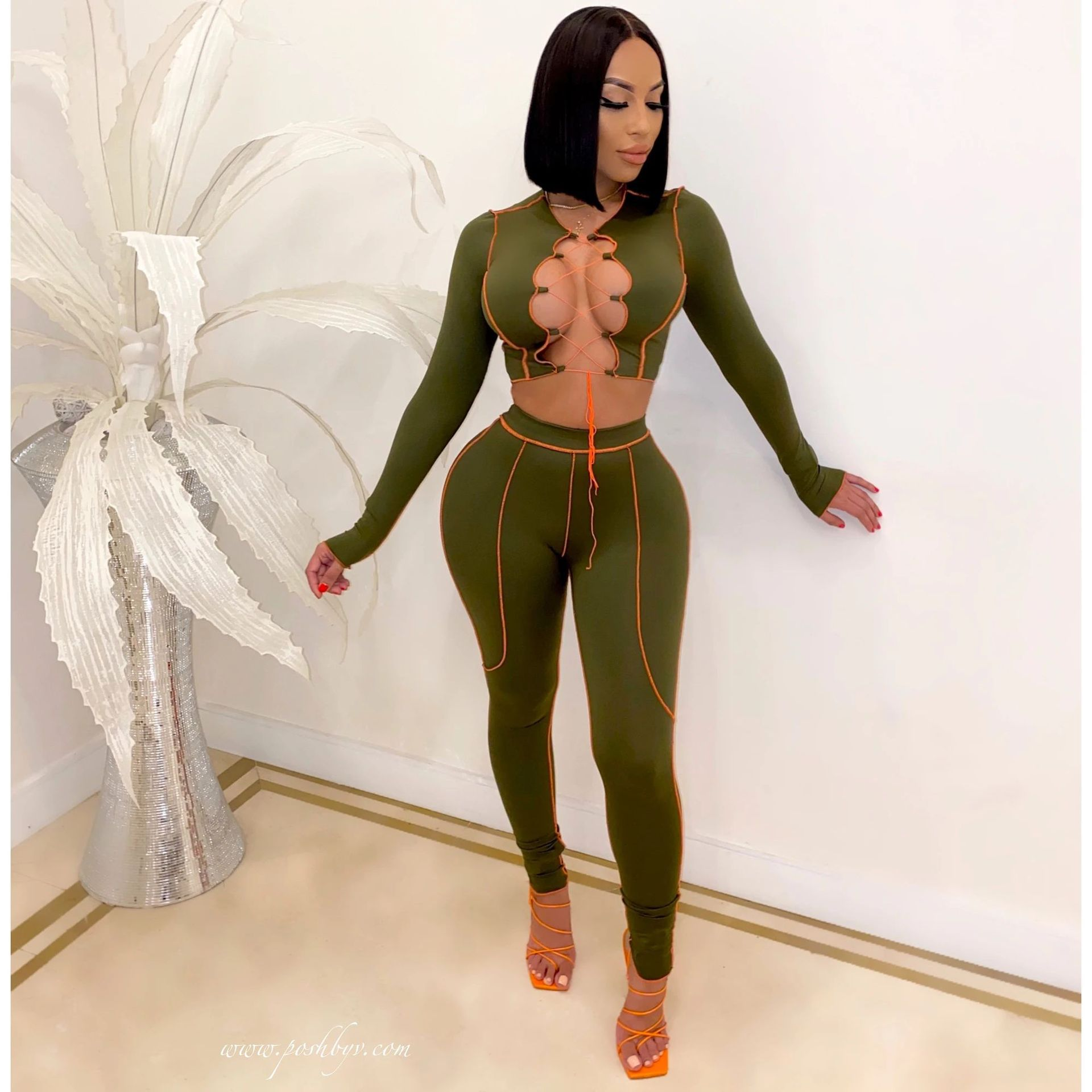 Fall 2020 Fashion Trendy Sets Womens Clothing Crop Top Two Piece Set Clothes Long Sleeve 2 Piece pants Set