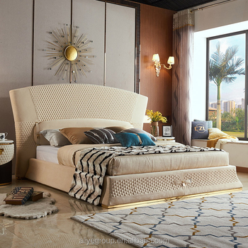 Modern lrice white color cow leather velvet fabric bed wooden frame bed frame double/king for bedroom