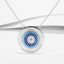 Di Vendita caldo Autentico 925 Sterling Collana In Argento Con Clear Zircone Cubico Blue Eye Pendenti Collane Fit Monili del Regalo Delle Donne