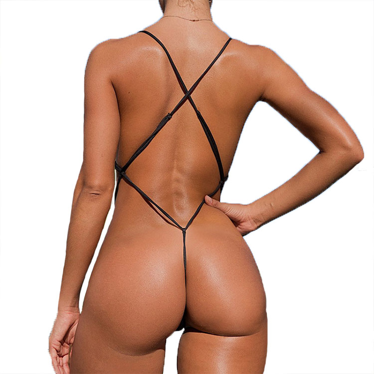 Cute String Bikinis Swimsuit Solid Color Backless Swimwear Yuvutu 1