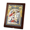 Coloured St.George Byzantine Silver Icon On Square Wooden Back Blue+Red