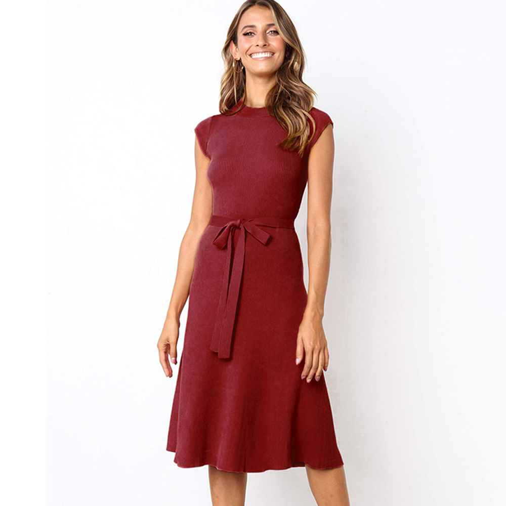 2020 New Arrival Women Fashion Casual <strong>Dress</strong> Solid Color Knitting <strong>Dress</strong>