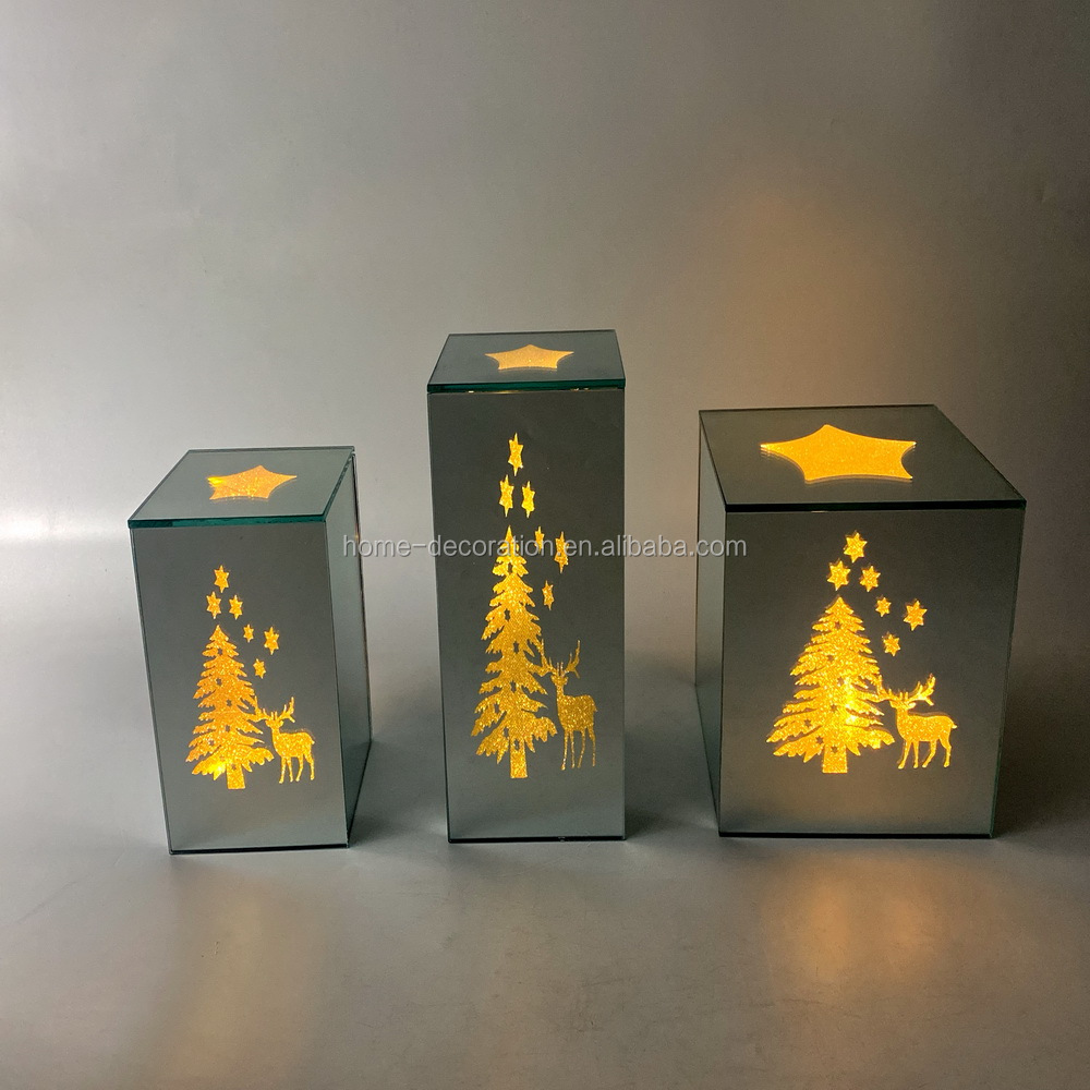 wholesale 2021 x'mas design mirror glass led cube made in china