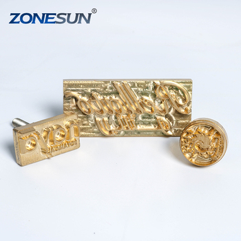 ZONESUN Logo Customized Leather Cookie Wooden Metal Stamping Copper Mold Bread Cake Chocolate Soap Leather Bronzing Mould