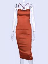 Сексуальное платье миди на тонких бретельках без рукавов с открытой спиной, облегающее Бандажное платье красного и розового цвета, женское ...(Китай)
