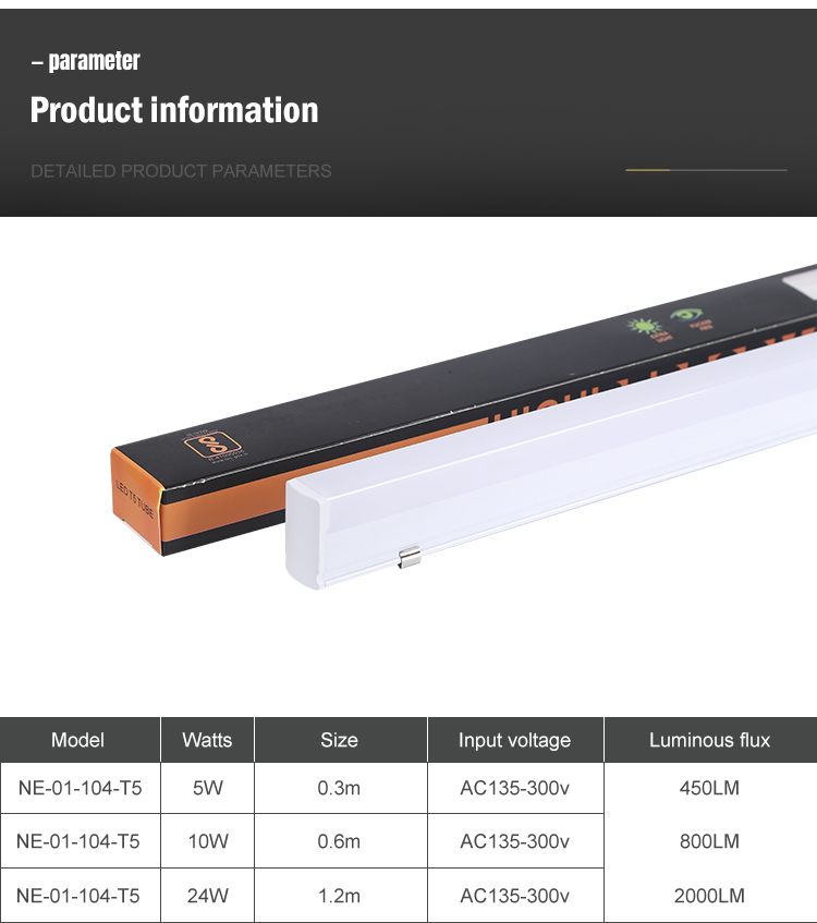 OKELI T5 tubelight 5w 10w 24w 3000k 4000k 6000k pc cover led 120cm t5 integrated led tube