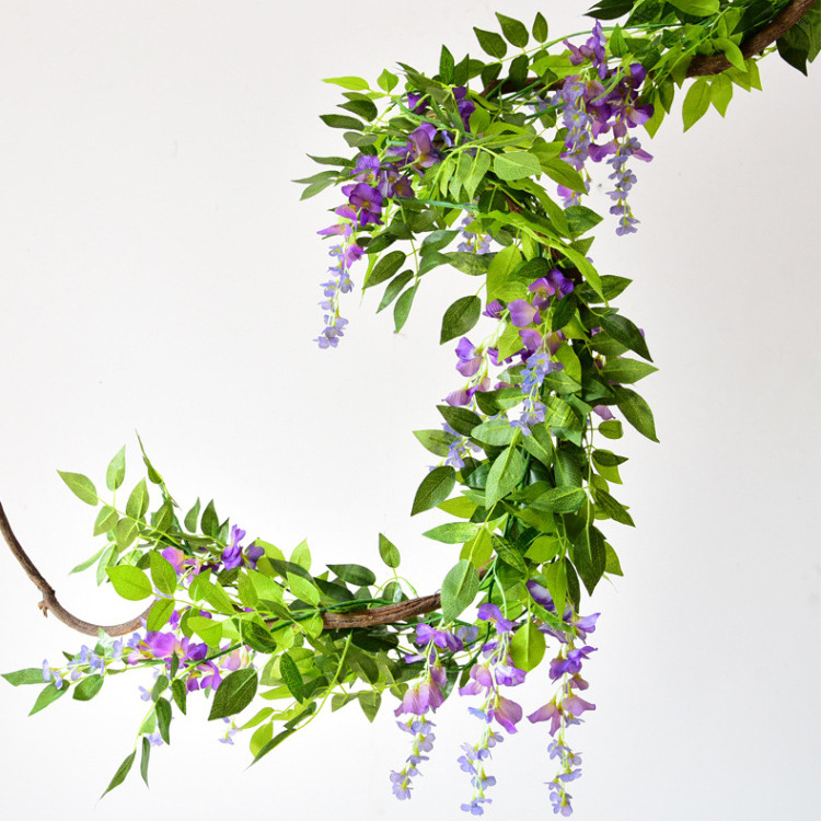 Artificial Wisteria Vine Silk Hanging Flower for Home Garden Outdoor Ceremony Wedding Arch Floral Decor