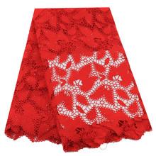 Красный африканский шнур кружевная ткань 2020 высокое качество кружевной шнур кружевная ткань сухая кружевная ткань Африканская кружевная т...(Китай)