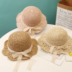 Folding Baby Kids Girl Beach Tour Sun Cap Paper Straw Hat with Lace Ribbon Bow