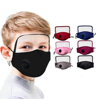 Protective eyeshield kids wear breathing valve cotton facemask cloth protective shield protective facemask with 2 filter