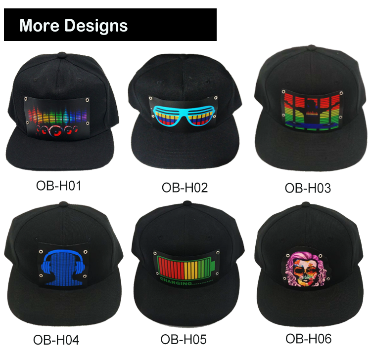 Hot Sale Creative Dance Party LED Custom Flashing Cap EL Panel Hat Sound activated LED hats