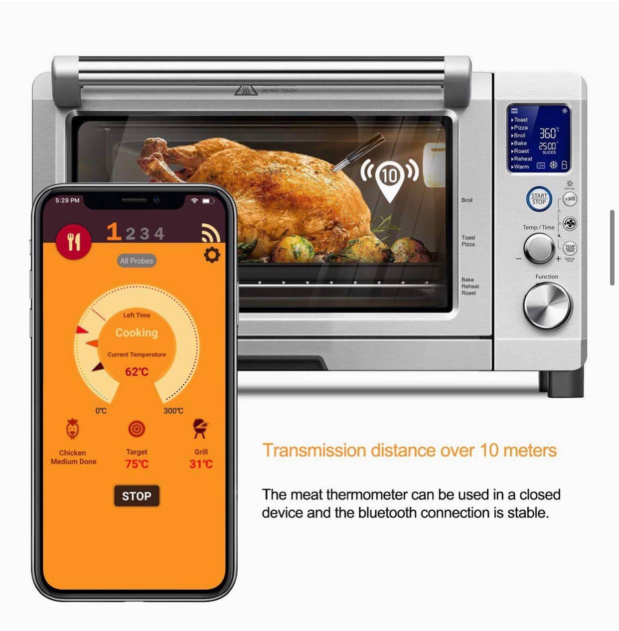 वायरलेस रिमोट के साथ डिजिटल रसोई जांच खाना पकाने खाद्य मांस थर्मामीटर धूम्रपान न करने के लिए दोहरी जांच ग्रिल BBQ थर्मामीटर