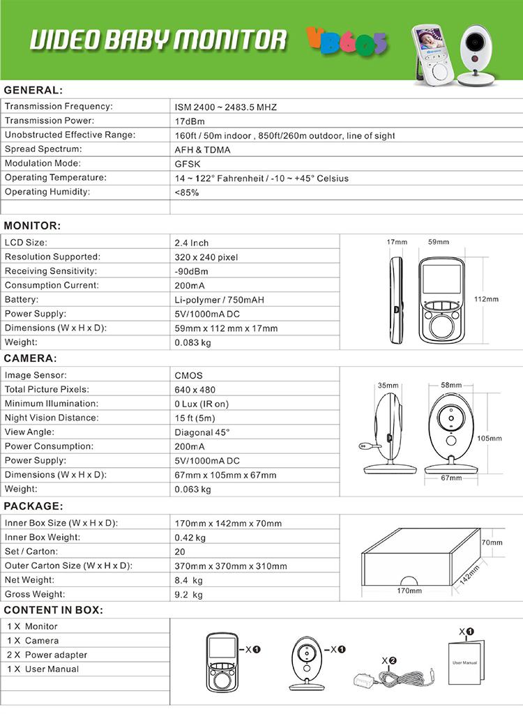 Kablosuz kamera kablosuz vücut sıcaklığı monitörü kablosuz yatak ıslatma alarmı