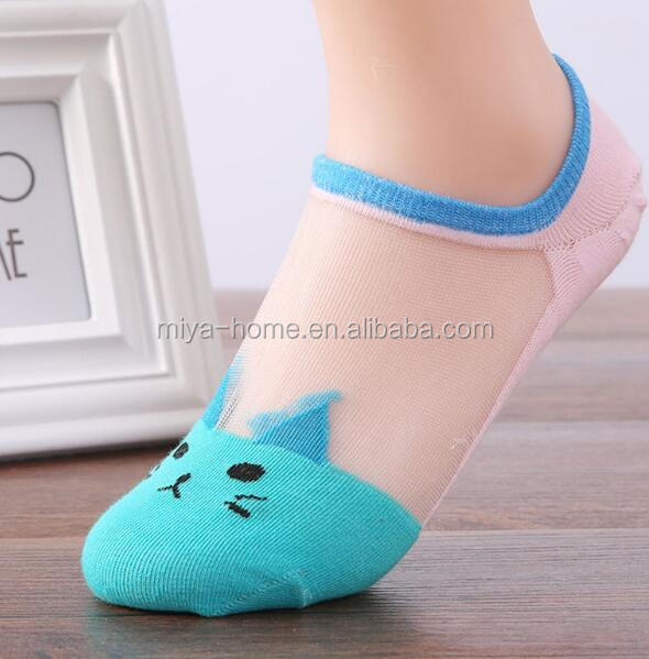 Cute women silk socks / Cartoon Invisible ankle socks
