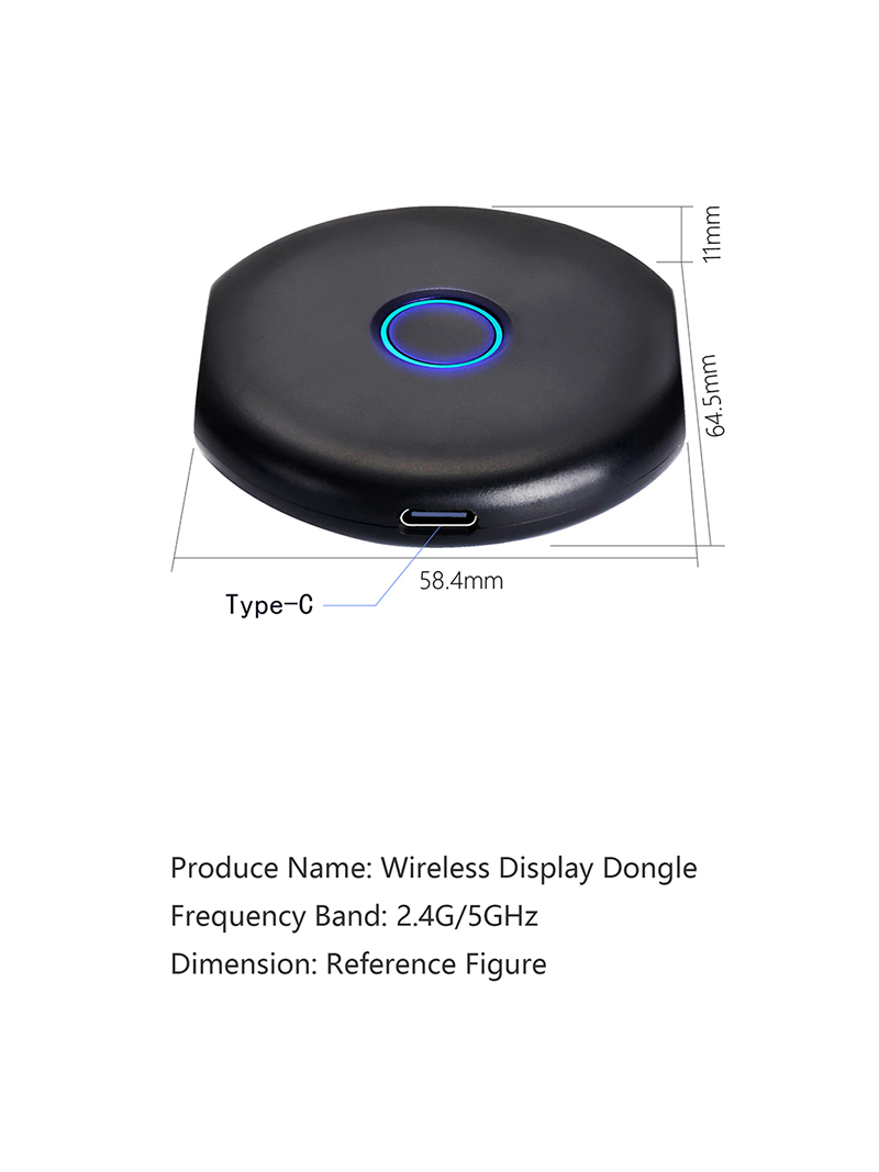 4K Quad Core Miracast Airplay Dongle Wireless Display HDMI Adaptor untuk Android/Ios/Windows/Mac